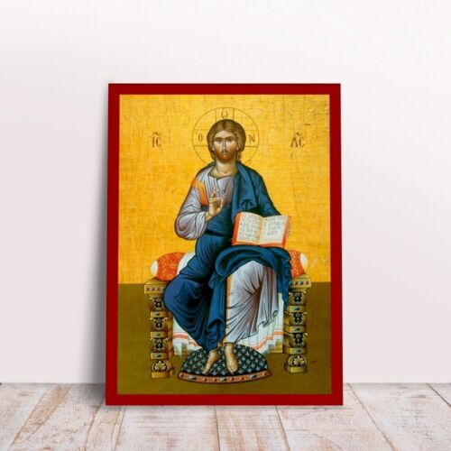 Jesus Enthronos Greek byzantine orthodox icon handmade