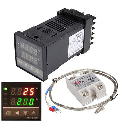Useful Lcd Pid Rex-c100 Temperature Controller Kits Max.40a Ssr K Thermocouple