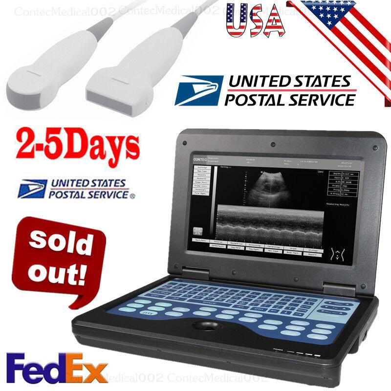 Best NEW PORTABLE ULTRASOUND SCANNER LAPTOP MACHINE 2 PROBES CONVEX & LINEAR,USA FEDEX