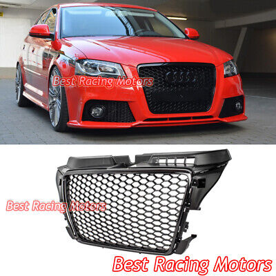 RS3 Style Front Grille (Gloss Black Frame + Mesh) Fits 09-13 Audi A3 S3 (Euro Lines)
