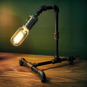 Vintage Industrial Retro Style Steel Pipe Desk Table Lamp Light Edison Bulb