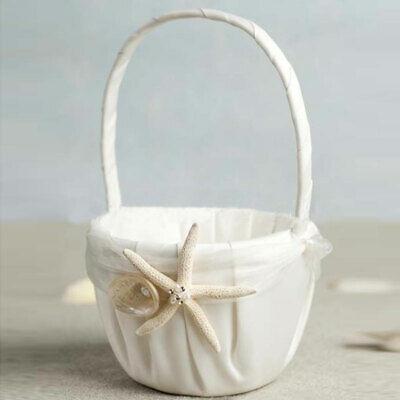 Wedding Flower Girl Basket Beach Themed Ivory Sea Star And Seashell Basket Decor