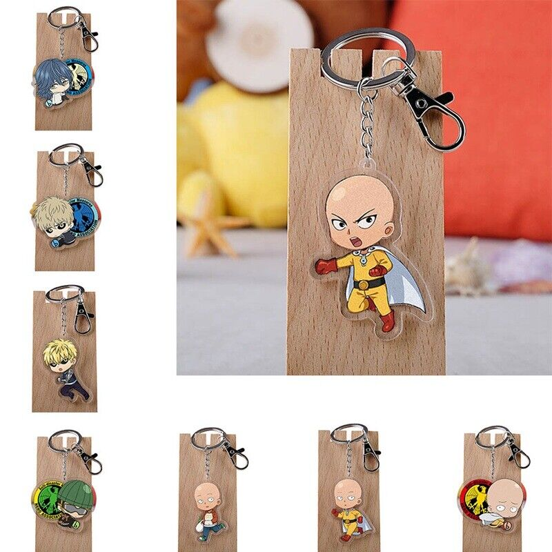 Details about Anime ONE PUNCH-MAN Saitama Genos Double sided Acrylic  Keychain