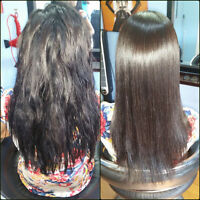 Hairstylist permanent Japanese hair straightening and olaplex