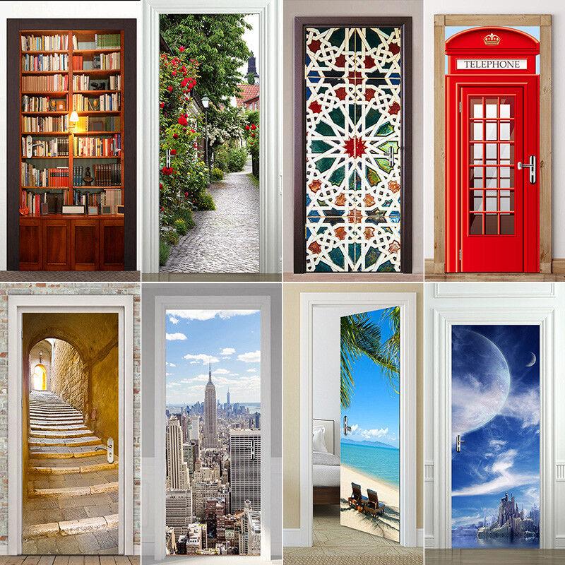 Home Decoration - 3D Door Wall Fridge Sticker Decals Waterproof Adhesive Scene Mural Home Decor
