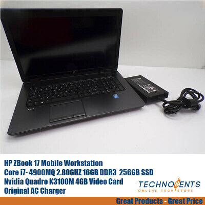 HP ZBOOK 17 CORE I7-4900MQ 2.80GHz 16GB 256 SSD NVIDIA Quadro K3100M