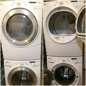 White whirlpool duet stackable washer and dryer