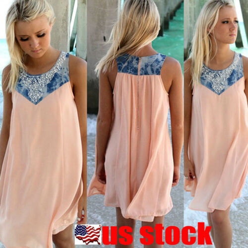 BOHO Ladies Sleeveless Party Tops Womens Summer Beach Swing Dress Sundress USA