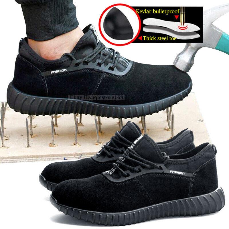 Men/'s Steel Toe Work Safety Shoes Indestructible Bulletproof Midsole Boots Sizes