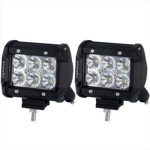 Pair 4inch 18W CREE Flood Spot LED Work Light Bar Offroad 4WD