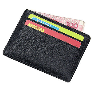 NEW  LEATHER MENS SMALL ID CREDIT CARD WALLET HOLDER SLIM CASE POCKET