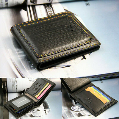 Men's Bi-fold Leather Wallet ID Credit Card Holder Pockets Purse Flap Billfold