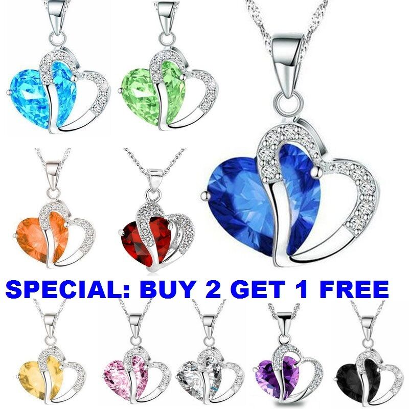 Necklace - Fashion Women Heart Crystal Rhinestone 925 Silver Chain Pendant Necklace Charm