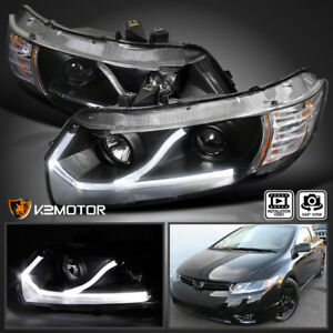 For 2006-2011 Honda Civic Coupe 2Dr Black LED Strip Projector Headlights Pair
