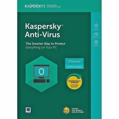 Kaspersky Anti Virus 2018 Multi Device   3 Devices  1 Year Support   Antivirus