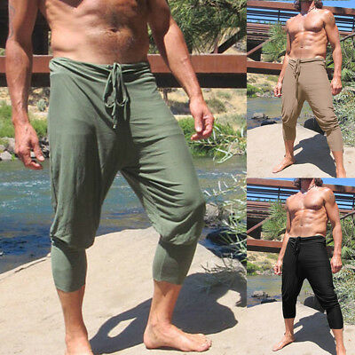 - Mens Tie Waist Crop Capri Pants Yoga Sports Shorts Harem Trousers Loose Bottoms