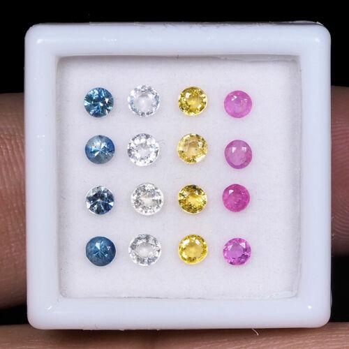 16 Pcs Natural Multi Sapphire 2.5mm-3mm Round Cut Sparkling Gems Wholesale Lot