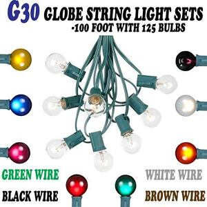100 foot g30 outdoor lighting globe patio string lights. Black Bedroom Furniture Sets. Home Design Ideas