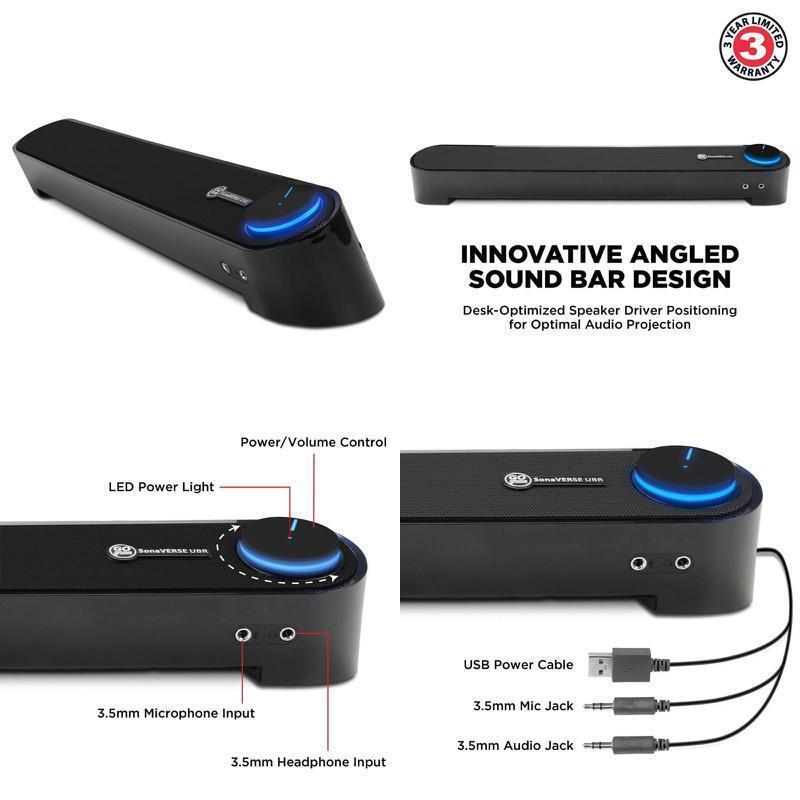 Gogroove SONAverse USB PC Speaker Mini Sound Bar Desktop Sou