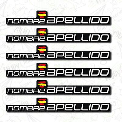 6 x BANDERA ESPAÑA NOMBRE PEGATINA VINILO CASCO BTT BICICLETA PERSONALIZABLE BTT