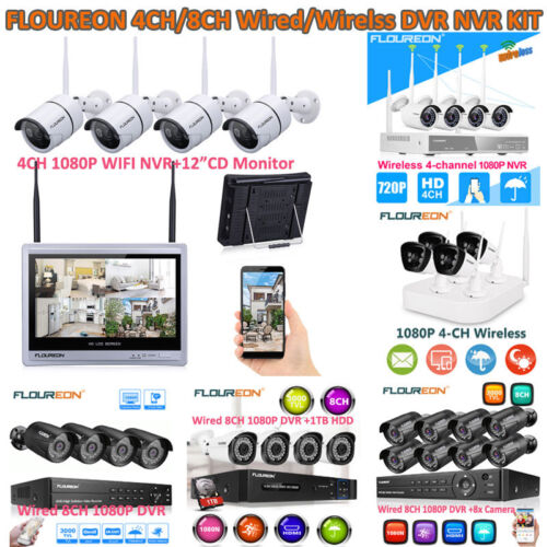 1080P 4/8CH Wireless/Wired NVR 4x Outdoor Camera Video Home