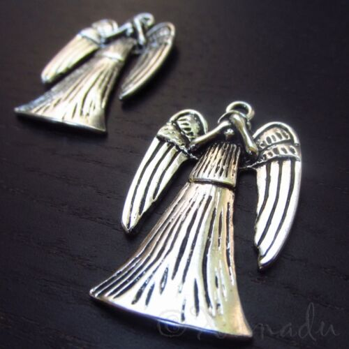 Weeping Angels 38mm Doctor Who Silver Plated Pendants C6494 - 2, 5 Or 10PCs