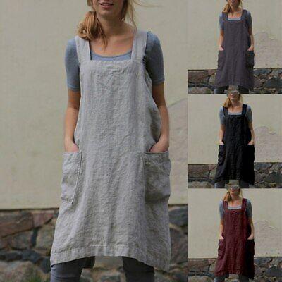 Women Cotton Linen Cross Back Apron Housework Kitchen Wrap casual Dress UK