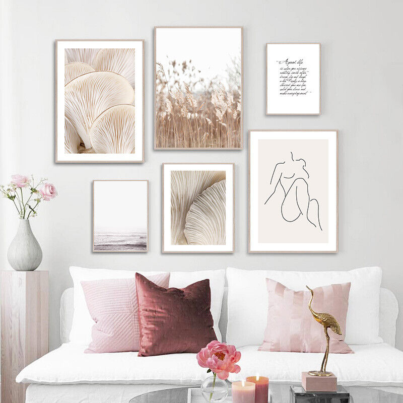 Mushroom Grass Nature Landscape Canvas Poster Nordic Wall Ar