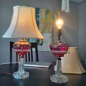 2 Cranberry Glass Lamps