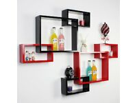 One Matt Wall Mount Display Cube Shelf Hidden Bracket Bookshelf CD Storage Unit