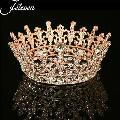 Crystal Tiaras Crown Rhinestone Rose Gold Plated Clear Round Wedding Party USA