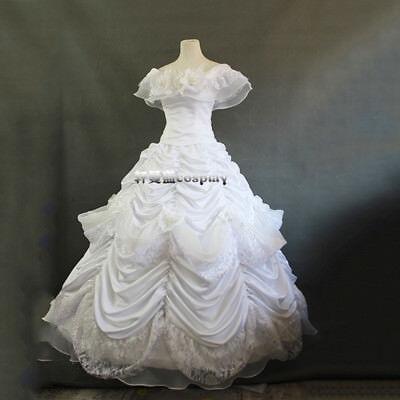 The Little Mermaid Ariel White Dress Princess Cosplay Costume Adult Fancy Gown (Adult Little Mermaid Dress)