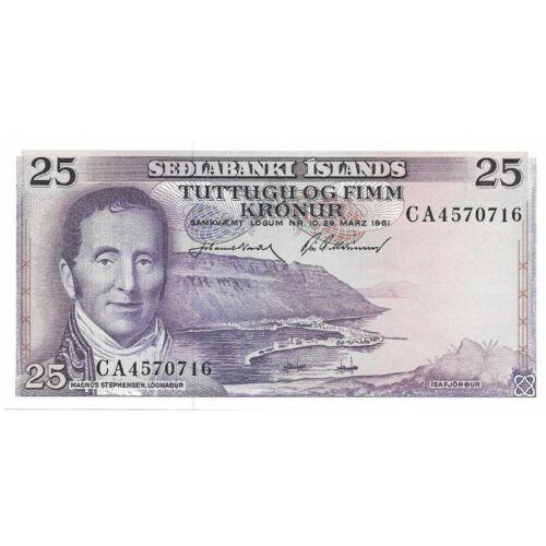 1961 Iceland 25 Kronur Pick-43 Crisp UNC Banknote! -d862dth
