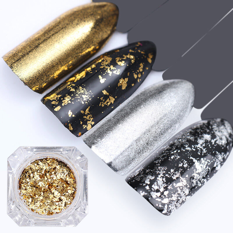 Born Pretty Irregular Glitter Nails Sequins Flakes Gold Silver Paillettes Powder