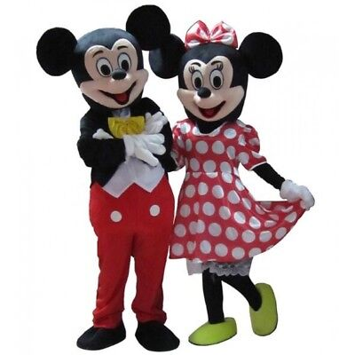 Mickey And Minnie Mouse Adult Costumes (Mickey and Minnie Mouse Mascot Costume Adult Halloween BIRTHDAY Disney Girl)