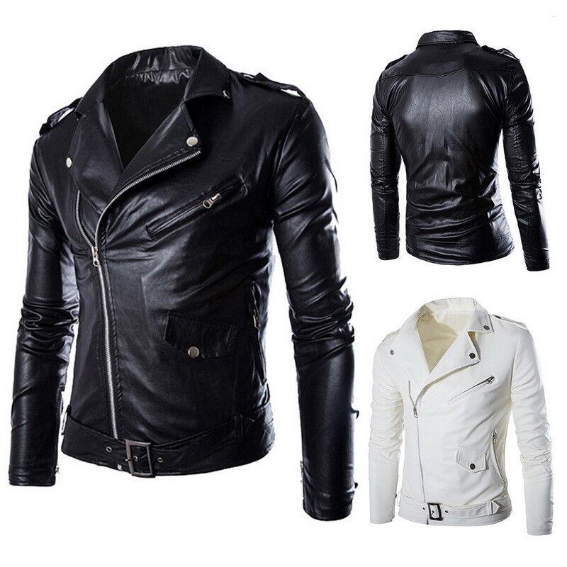 Stylish Mens Pu Leather Biker Jackets Slim Fit Zipper Motorcycle Outwear Coat