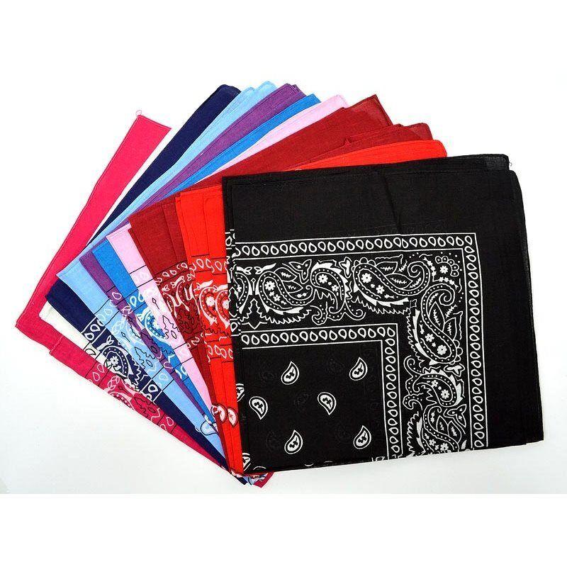 Bandane 11 colori 100% Cotone 55x55 cm sciarpa stampato uomo donna motociclista