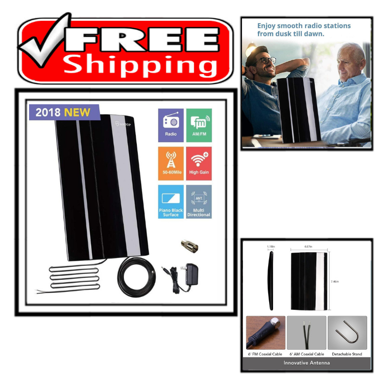 ANTOP Amplified Radio Antenna Indoor AM/FM Antenna for Home
