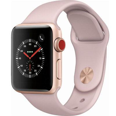 Apple Watch Series 3 38MM Gold Aluminum Pink Sand Sport GPS Cellular MQJQ2LL/A
