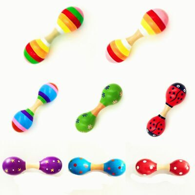 Double Head Colorful Wooden Maracas Baby Child Musical Instrument Rattle Shaker ](Baby Maracas)