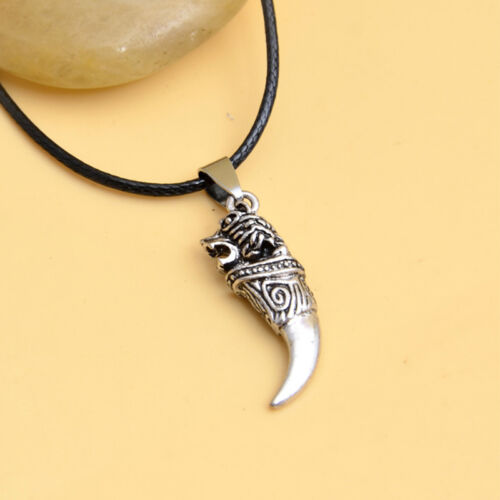 Brave Man Wolf Tooth Fang Tribal Necklace Pendant Gift Him Boyfriend Husband