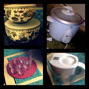 Rice Cooker, Filter Jug, Bowls, Glasses- $5-$20