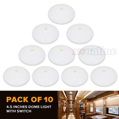 "10 LED 12V 4.5"" Bright Ceiling Dome Light RV Caravan Motorhome Marine Roof Lamp"