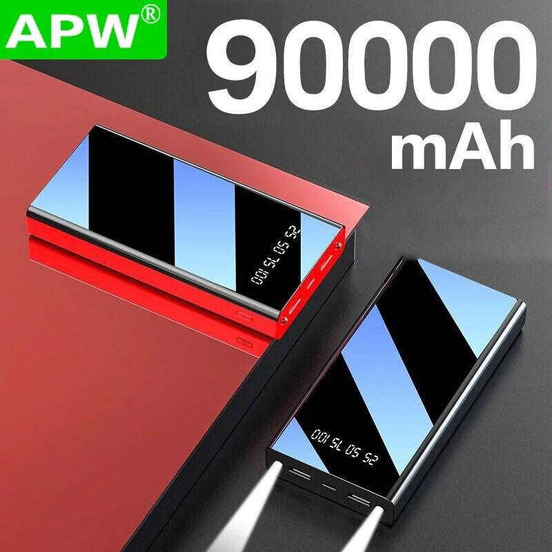 90000mAh Portable Charging PowerBank Ultra Thin Battery Charger Fast Charging Cell Phone Accessories
