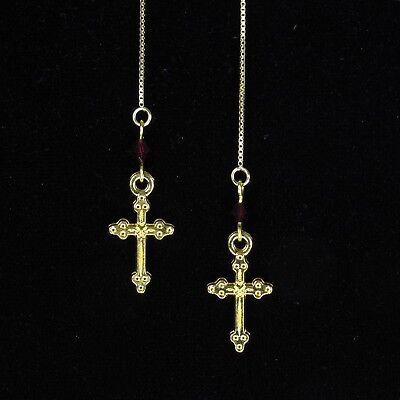 (*SJ1* Cross Charm 14K Gold Vermeil Threader Dangle Earrings w/ Upick Swarovski)