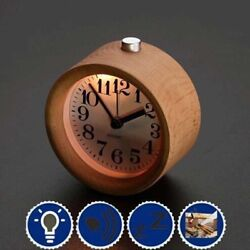 Small Alarm Clock with Night Light Wood Classic Round Silence Table Clock Snooze