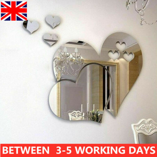 Home Decoration - Removable Mirror Love Heart Wall Sticker Decal Self Adhesive Home Room Art Decor