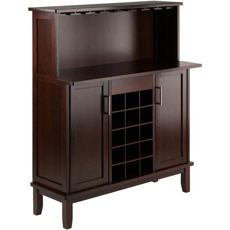 Winsome Beynac Transitional Solid Wood Home Wine Bar in Cappuccino