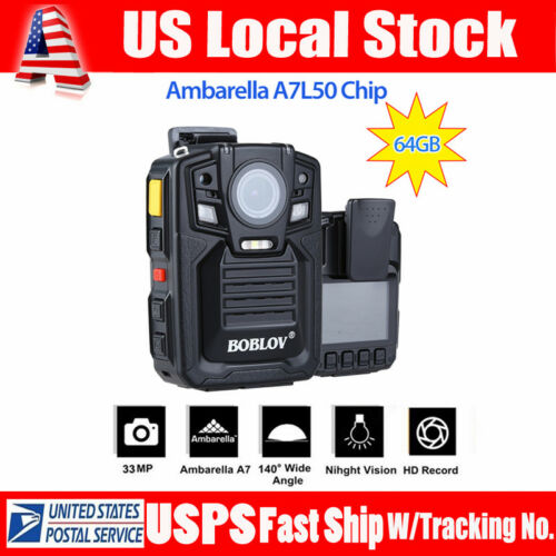 HD 1296P 64GB Portable HD Body Police Camera  Security Pocket Cam Night Vision