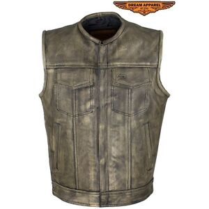 Men's Distressed Brown Leather Motorcycle Club Vest